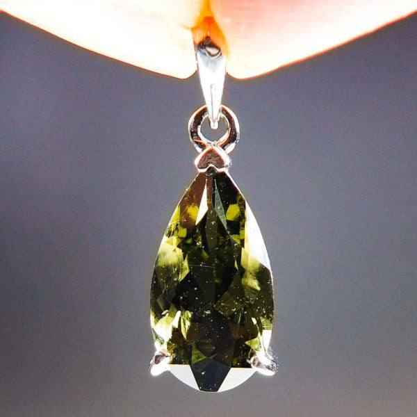 Silver Pendant with Big Faceted Moldavite - CERTIFIED