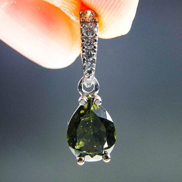Moldavite pendant with Zircons CERTIFIED