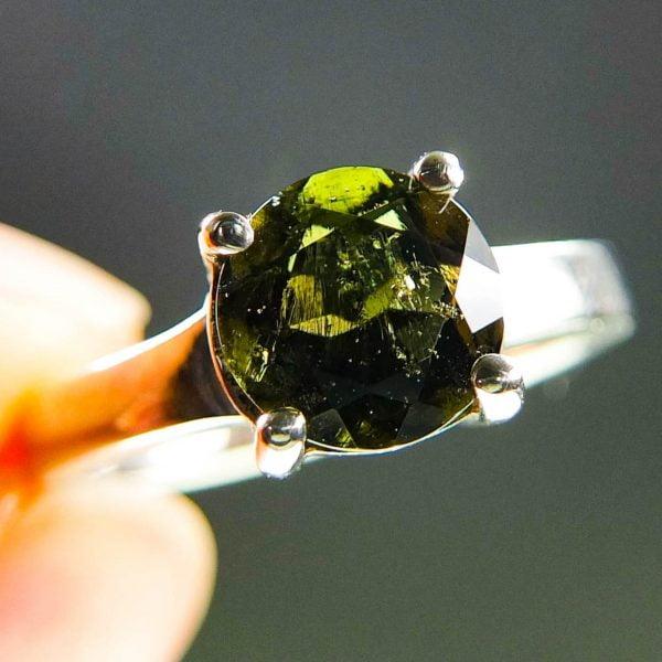 Silver Moldavite Ring - CERTIFIED